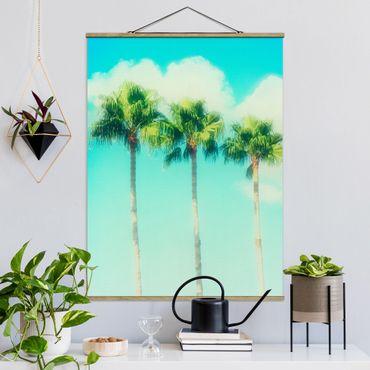 Stoffbild mit Posterleisten - Palmen vor Himmel Blau - Hochformat 4:3