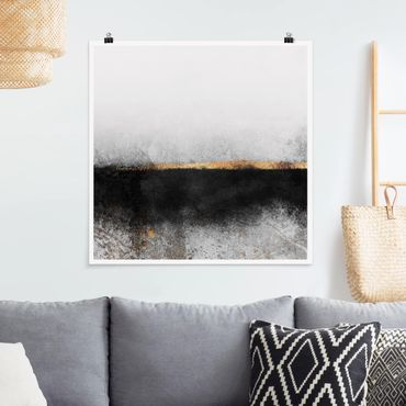 Poster - Abstrakter Goldener Horizont Schwarz Weiß - Quadrat 1:1