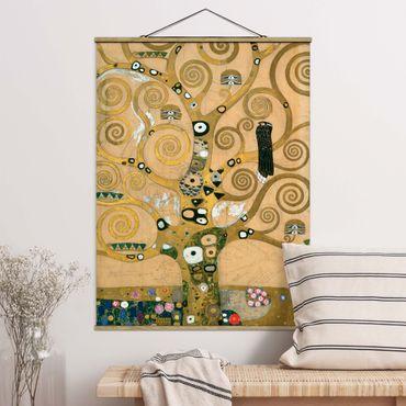 Stoffbild mit Posterleisten - Gustav Klimt - Der Lebensbaum - Hochformat 4:3