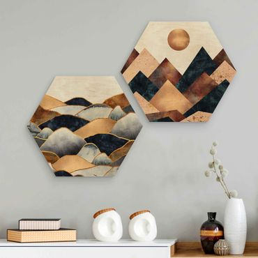 Hexagon Bild Holz 2-teilig - Elisabeth Fredriksson - Geometrische & Goldene Berge Aquarell