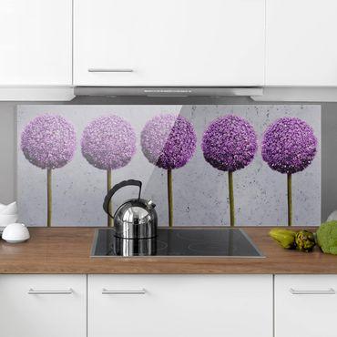 Spritzschutz Glas - Allium Kugel-Blüten - Panorama - 5:2