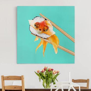 Leinwandbild - Jonas Loose - Sushi mit Goldfisch - Quadrat 1:1