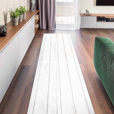 Vinyl-Teppich - Weiße Holzplanken Shabby - Panorama Hoch 1:3