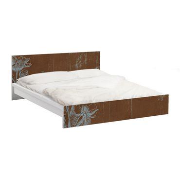 Möbelfolie für IKEA Malm Bett niedrig 180x200cm - Klebefolie Blaue Blumenskizze