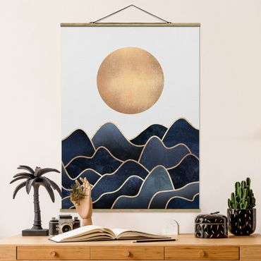 Stoffbild mit Posterleisten - Elisabeth Fredriksson - Goldene Sonne blaue Wellen - Hochformat 4:3