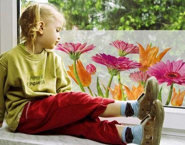 Fensterfolie - Sichtschutz Fenster - Flower Melody - Fensterbilder Frühling