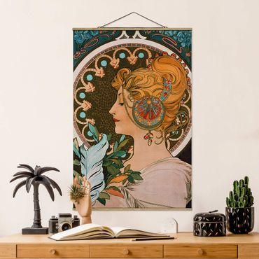 Stoffbild mit Posterleisten - Alfons Mucha - Die Feder - Hochformat 3:2