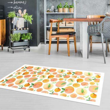 Vinyl-Teppich - Aquarell Orangen mit Blättern in weißem Rahmen - Hochformat 1:2