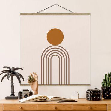 Stoffbild mit Posterleisten - Line Art Kreis und Linien Kupfer - Quadrat 1:1