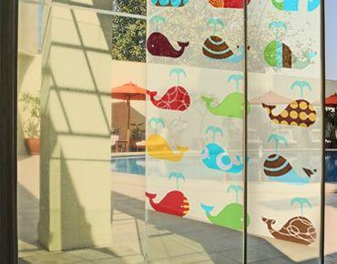 Fensterfolie - Sichtschutz Fenster Retro Whales - Fensterbilder
