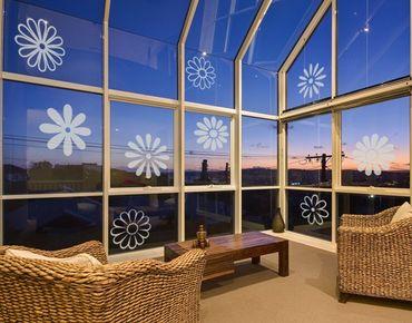 Fensterfolie - Fenstertattoo No.132 Neun Blüten - Milchglasfolie