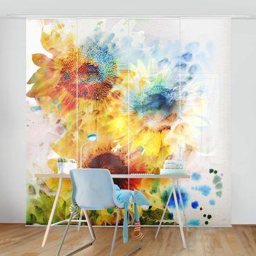 Schiebegardinen Set - Aquarell Blumen Sonnenblumen - Flächenvorhänge