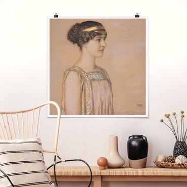Poster - Franz von Stuck - Portrait von Mary - Quadrat 1:1