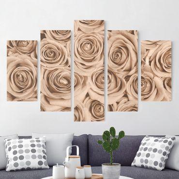 Leinwandbild 5-teilig - Vintage Rosen