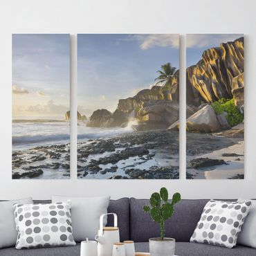 Leinwandbild 3-teilig - Sonnenuntergang im Inselparadies - Triptychon