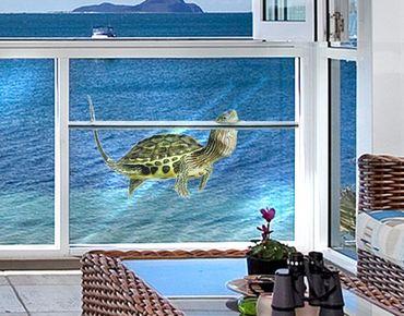 Fensterfolie - Fenstersticker No.381 Schildkröte Kopfhoch - Fensterbilder