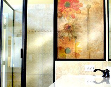 Fensterfolie - Sichtschutz Fenster Vintage Flowermix - Fensterbilder
