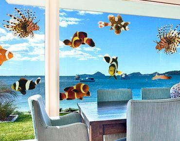 Fensterfolie - Fenstersticker No.392 Tropical Fishes Set Small - Fensterbilder