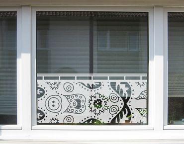 Fensterfolie - Sichtschutzfolie No.UL9 Blattmuster Gardine I - Milchglasfolie