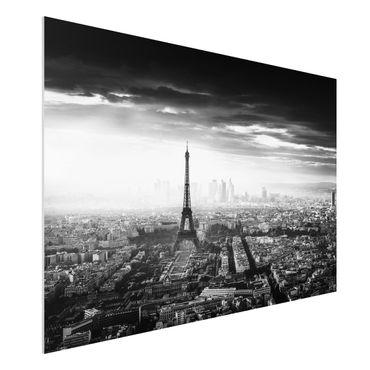 Forex Fine Art Print - Der Eiffelturm von Oben Schwarz-weiß - Querformat 2:3
