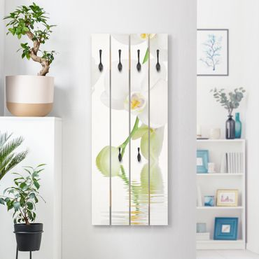 Wandgarderobe Holz - Wellness Orchidee - Weiße Orchidee