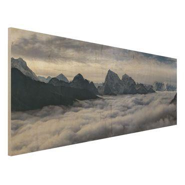 Holzbild - Wolkenmeer im Himalaya - Panorama