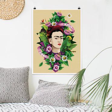 Poster - Frida Kahlo - Frida, Äffchen und Papagei - Hochformat 3:4