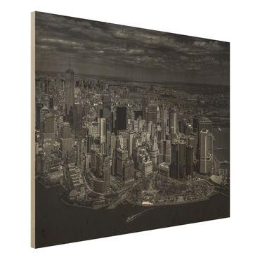 Holzbild - New York - Manhattan aus der Luft - Querformat 3:4