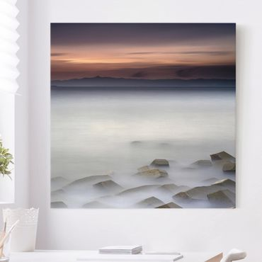 Leinwandbild - Sonnenuntergang im Nebel - Quadrat 1:1