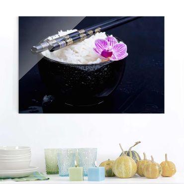 Glasbild - Reisschale mit Orchidee - Querformat 2:3