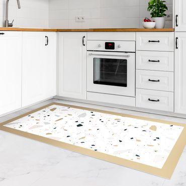 Vinyl-Teppich - Detailliertes Terrazzo Muster San Remo mit Rahmen - Querformat 2:1