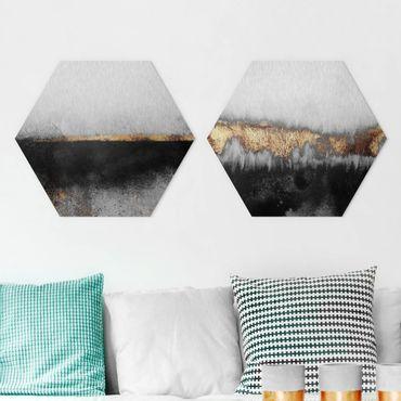 Hexagon Bild Alu-Dibond 2-teilig - Elisabeth Fredriksson - Abstrakte Goldene Horizonte in Aquarell