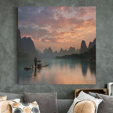 Leinwandbild - Sonnenaufgang über chinesischem Fluss - Quadrat 1:1