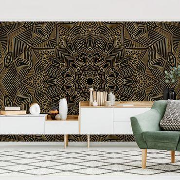 Fototapete - Mandala Stern Muster gold schwarz - Fototapete Breit