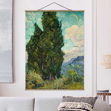 Stoffbild mit Posterleisten - Vincent van Gogh - Zypressen - Hochformat 4:3