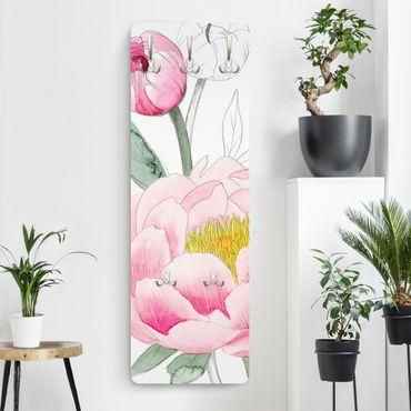 Garderobe - Zeichnung Rosa Päonien II