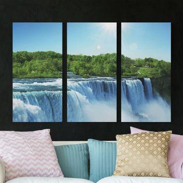 Leinwandbild 3-teilig - Wasserfalllandschaft - Hoch 1:2