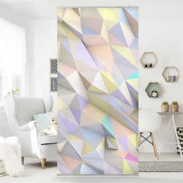 Raumteiler - Geometrische Pastell Dreiecke in 3D 250x120cm