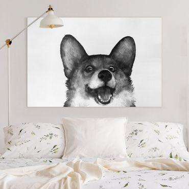 Leinwandbild - Illustration Hund Corgi Weiß Schwarz Malerei - Querformat 2:3