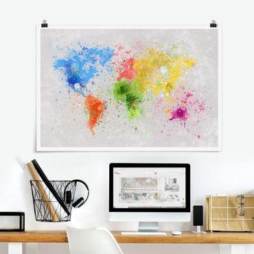 Poster - Bunte Farbspritzer Weltkarte - Querformat 2:3