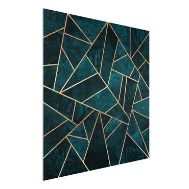 Forex Fine Art Print - Dunkles Türkis mit Gold - Quadrat 1:1
