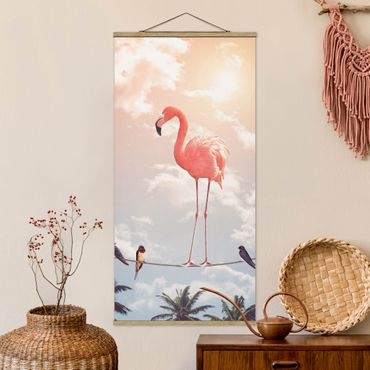 Stoffbild mit Posterleisten - Jonas Loose - Himmel mit Flamingo - Hochformat 1:2