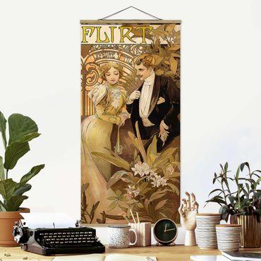 Stoffbild mit Posterleisten - Alfons Mucha - Werbeplakat für Flirt Biscuits - Hochformat 2:1
