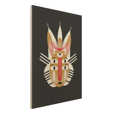 Holzbild - Collage Ethno Maske - Hase - Hochformat 4:3