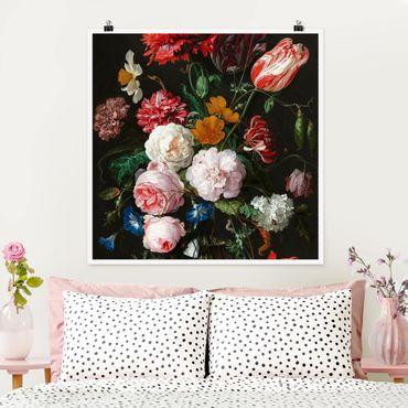 Poster - Jan Davidsz de Heem - Stillleben mit Blumen in einer Glasvase - Quadrat 1:1