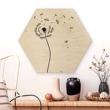 Hexagon Bild Holz - No.252 Pusteblume