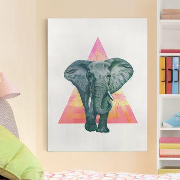 Leinwandbild - Illustration Elefant vor Dreieck Malerei - Hochformat 4:3