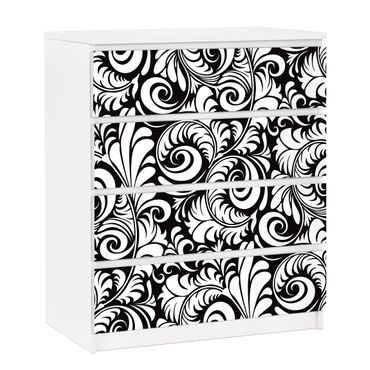 Möbelfolie für IKEA Malm Kommode - selbstklebende Folie Black and White Leaves Pattern