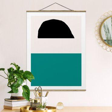 Stoffbild mit Posterleisten - Line Art Abstrakte Formen - Hochformat 4:3