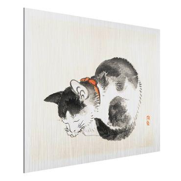 Aluminium Print gebürstet - Asiatische Vintage Zeichnung Schlafende Katze - Querformat 3:4